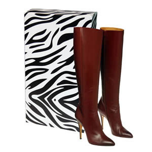 Caraselle New &amp; Unique Zebra Print Ladies Stackable Knee Boot Box
