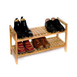 Deluxe Stackable 2 Tier Walnut Shoe Rack