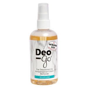 The Caraselle Deo-Go Deodorant & Antiperspirant Stain Remover Almond Scented 250ml. Recommended by Good Housekeeping Institute.
