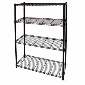 3ft Wide All Black Four Shelf Steel Storage System