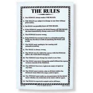 """The Rules"" Tea Towel - pack of 1"