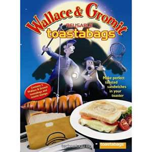 Wallace &amp; Gromit Reusable Toastabags - 1 Pack of 2. Toast sandwiches and snacks in your toaster with no mess. Can be reused up to 100 times