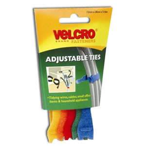 VELCRO® Brand 1 Pack of Coloured Adjustable Ties 12mm x 20cm x 5 Ties (60250)