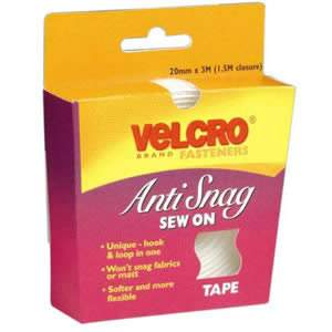 VELCRO Brand Anti Snag Sew On Tape 20mm x 3M (1.5M closure) (60350)