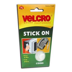 VELCRO® White StickOn Coins 16 x 16mm diameter (60227) from Caraselle