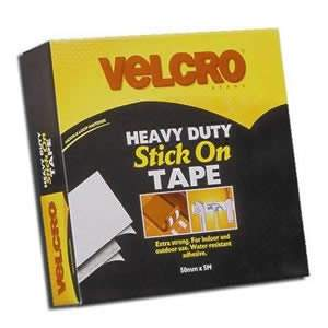 VELCRO® Brand Jumbo Pack of White Heavy Duty Stick On Tape 50mm x 5M, cut to size (60244)