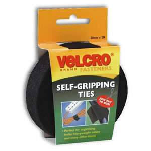VELCRO Brand Jumbo Pack of Black Self Gripping Ties on a Roll 30mm x 5M, cut to Size (60254)