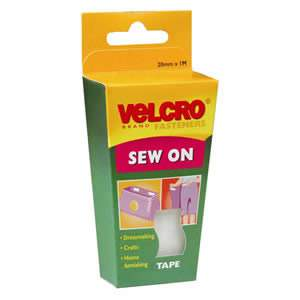Pack of VELCRO Brand White Sew On Tape 20mm x 1M (60298)