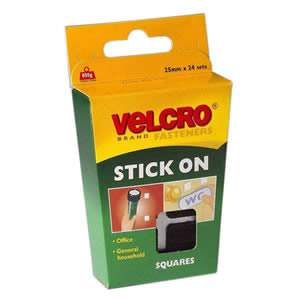 Pack of 24 VELCRO® Brand Black 25mm Stick On Squares (60236)