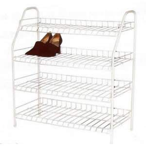 White Wire Shoe Rack