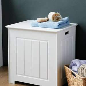 Deluxe Shaker Style White wooden Storage Chest with hinged lid