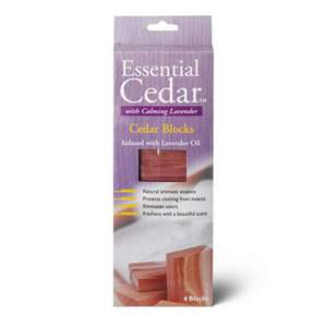 One pack of 4 x Deluxe Woodlore Aromatic Lavender infused Cedar Wood Blocks