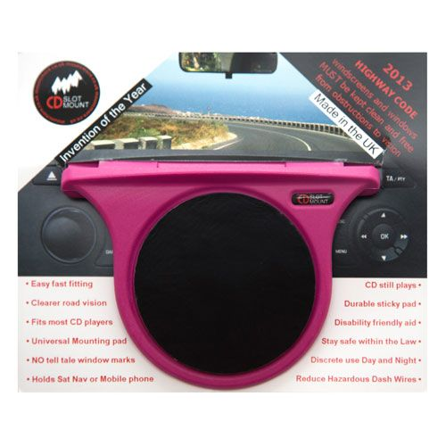 The Caraselle Car Organiser Pink CD Slot Mount. A new British Innovation. Voted Best British Invention of 2011 by The British Inventors Society
