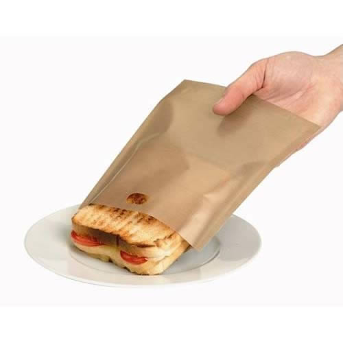 Gold Reusable Toastabags - 1 Pack of 2. Toast sandwiches and snacks in your toaster with no mess. Can be reused up to 100 times