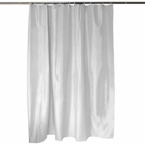 white shower curtain with weighted bottom hem