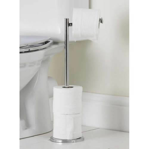 Freestanding Toilet Roll Holder With A Chrome Finish