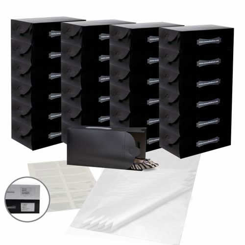 25 x Caraselle Black Ladies Shoe Boxes , 12 Clear Adhesive Pockets & 25 sheets of Acid Free Tissue Paper