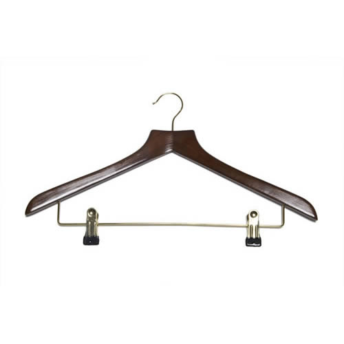 walnut delux wooden hangers with clips