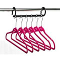 1 Multi-Hanging Bar with 6 Deep Pink Huggable Hangers - Hangs 6 Shirts / Trousers