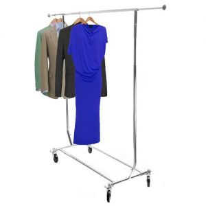 4-6ft Collapsible Chrome Clothes Rail H 140 to 165 W 122 to 183cms