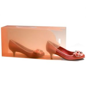 1 Ladies Translucent Tangerine Stackable Shoe Box