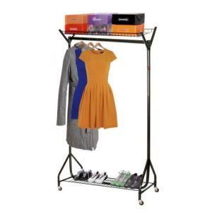 4' Superior Black Clothes Rail with Top & Bottom Shelves