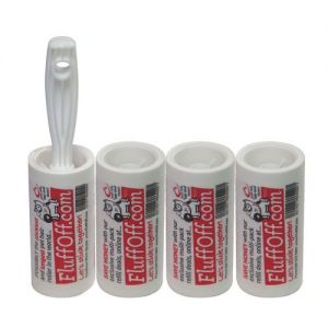 The Caraselle pack of 1 x FluffOff Sticky Roller Brush & 3 x 7.5 metre Roller Refills
