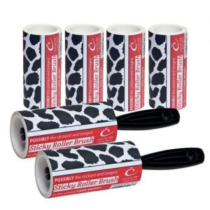 2 Caraselle Cowhide Sticky 7.5m Roller Brushes + 4 Refills