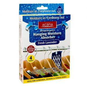 Acana Hanging Moisture Absorber Traps x4. Takes Damp out of Wardrobes, from Caraselle