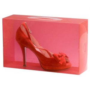 Red Stackable Ladies Shoe Box 30x18x10cm made in UK for Caraselle