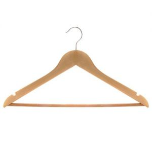 Natural Wooden Suit Hanger with Clear Plastic Covered Bar w. Notches
