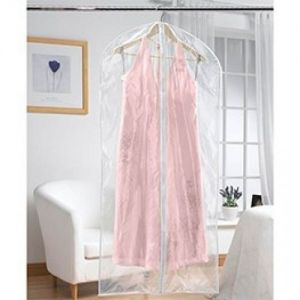 Extra Long Zipped Dress Cover Made in Clear Polythene
