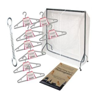 Caraselle Student Storage Solution LARGE - 6ft Heavy Duty Rail, PVC Rail Cover, 24 Hangers, Space Saver Bar and Moth Guide