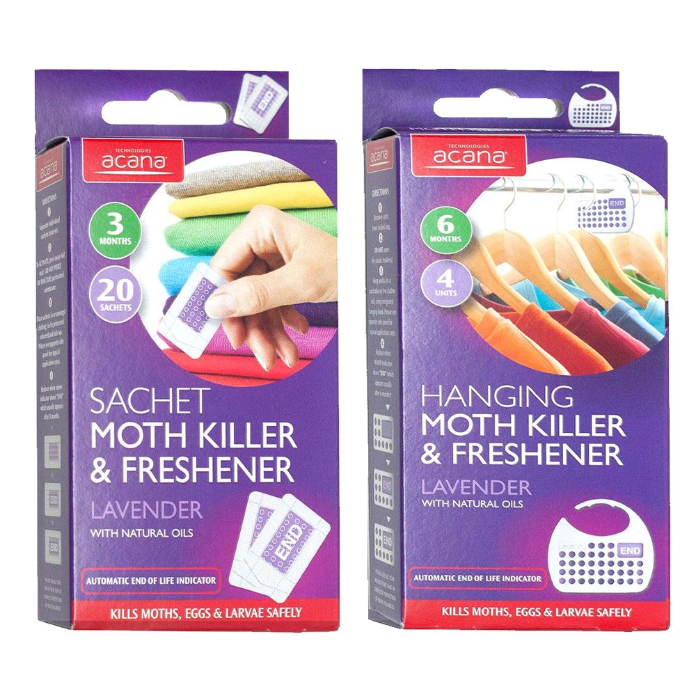 Acana Pack of 4 Hanging + 20 Sachet Moth Killers for Wardrobes and Drawers