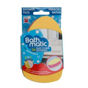 BathMatic 2in1 Duo Clean Sponges for the Whole Bathroom - Abrasive + Chamois Sides for Deep Clean & Polish - Made in the UK