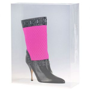 3 Stackable Clear Ankle Boots Storage Boxes