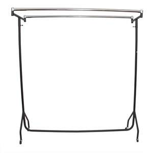 5ft Heavy Duty Black/Chrome Garment Rail Twin Top Bars 155x152x51cm