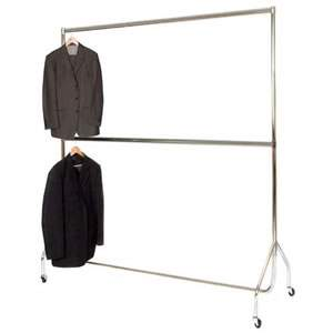 6' Wide 6'1 High Chrome Steel Garment Rail Centre Bar 183x185.5x50cm