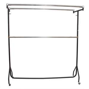 6' Extended Black/Chrome Garment Double Top Bars 18W 185H 50cmD