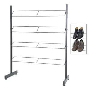 2 Black Steel Shoe Racks with 4 Shelves