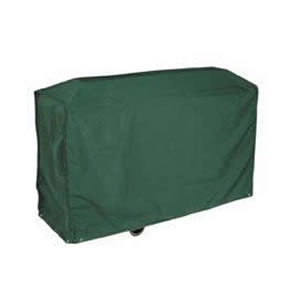 Deluxe Dark Green Wagon BBQ Cover in High Quality PVC Backed Polyester UV Stabilised against the Sun. 124 x 91 x 61 cms. Made by Bosmere.