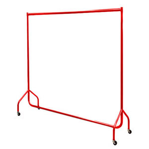 6ft Red Heavy Duty Garment Rail 183x155x50cms