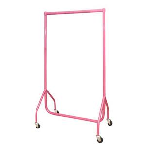 3ft Bespoke Custom Coated Pink Garment Rail with 3inch heavy duty castors