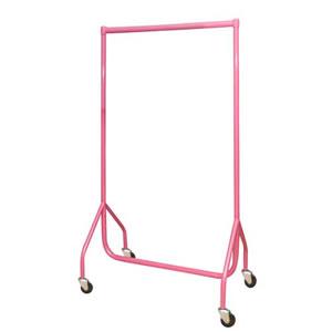 3ft Bespoke Custom Coated Pink Garment Rail with 4inch heavy duty castors