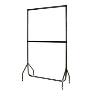 4ft Black Extended Height Garment Rail w Centre Bar 122x185.5x50cm