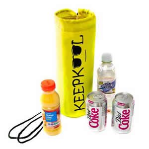 Insulated Bottle Cooler Bag in Yellow. Keepkool logo from Caraselle