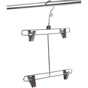 Metal Swimwear/Lingerie Double Bar Hanger with 4 Extra Strong Adjustable Clips. 41cm high & 30cm wide. Rotating hook.