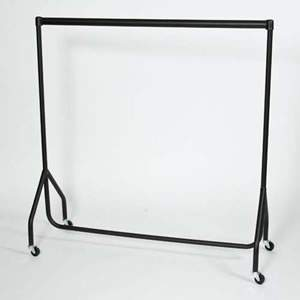 2 All Black 4ft Junior Height Garment Rails