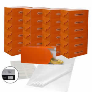 25 x Caraselle Tangerine Ladies Shoe Boxes + 12 Clear Adhesive PVC Pockets + 25 sheets of Acid Free Tissue Paper