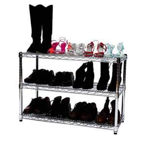 Steel Shoe Rack Chrome Finish H 61 W 91 D 35cms 3 Shelves by Caraselle